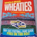 """1991 SEC Southeastern Conference (Front panel says """"1991 SEC Football Fans's Guide Free On This Box)  (Standard back panel)"""