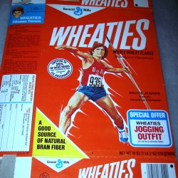 1977 Bruce Jenner (throwing javelin) (jogging outfit offer on front)