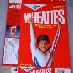 1986 Mary Lou Retton (hands in air) (book offer on side panel)