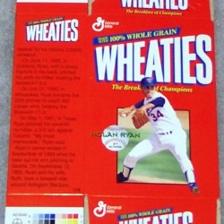 1999 Nolan Ryan Cooperstown Collection (mini MISSING gold signature ) WHEATIES Box