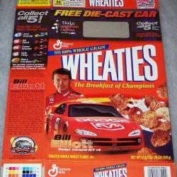 2001 Bill Elliott with die-cast car WHEATIES box