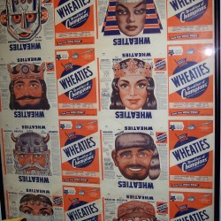 1947 Uncut Sheet of 8 boxes with masks on box backs- Masks are of Iron Jaw the Robot, Cleopatra, King Lionheart, Queen Sapphira, Eric the Viking, Klondike Jim, The Veiled Princess, Paul Bunyon (1 of only 3 sheets known to exist!)