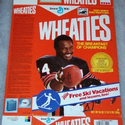 1987 Walter Payton (Banner on front for Free Ski Vacations) (Play The Big G Derby box at front top)