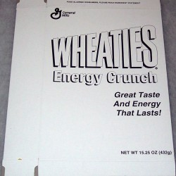 2001 Wheaties Energy Crunch (black and white test box) (extremely rare)