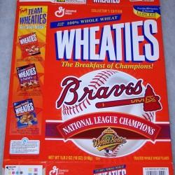 1996 Atlanta Braves 1996 N.L. Champions WHEATIES Box