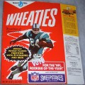 "1972 Football Player (""NFL Rookies Of The Year"" Sweepstakes offer on front) WHEATIES Box"