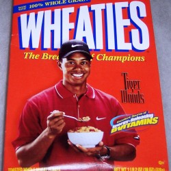 1999 Tiger Woods (eating cereal) (Energy Releasing B Vitamins banner on front) WHEATIES Box
