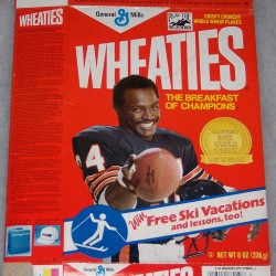 1988 Walter Payton (Banner on front for free ski vacations) (Play the Big G Derby box at front top)